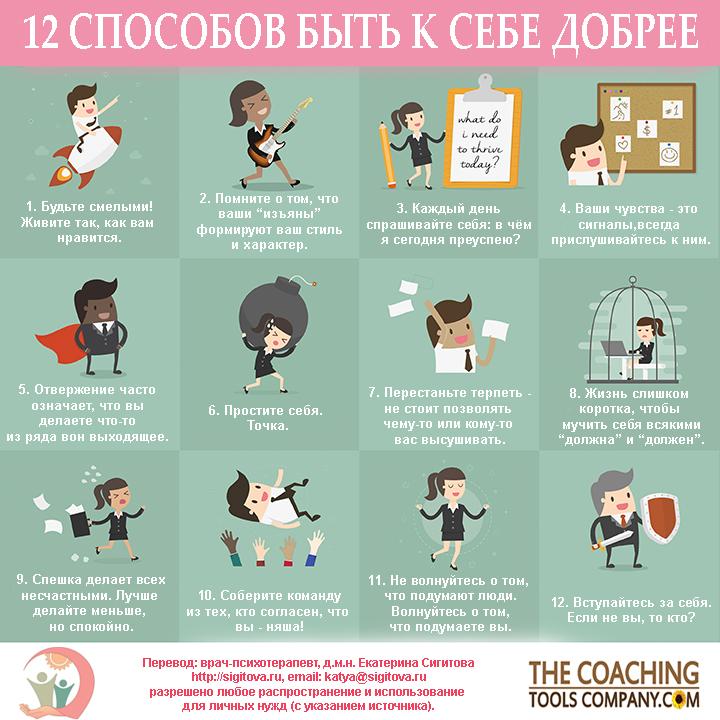 Как быть к себе добрее - инфографика